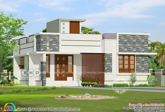 950 square feet 2 BHK flat roof Kerala residence