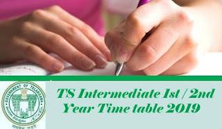TS Intermediate Exam Time table 2019, TS Inter Exam Time table 2019, Intermediate Time table 2019, Inter Time table 2019, Exam date 2019