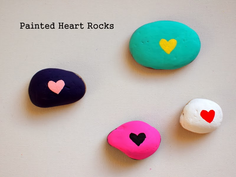 painted heart rocks