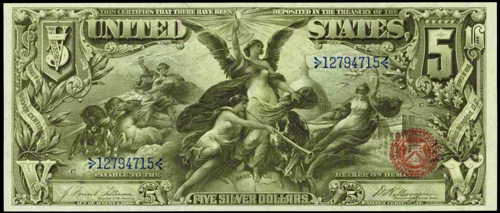 US currency 1896 Five Dollar Silver Certificate Educational Series
