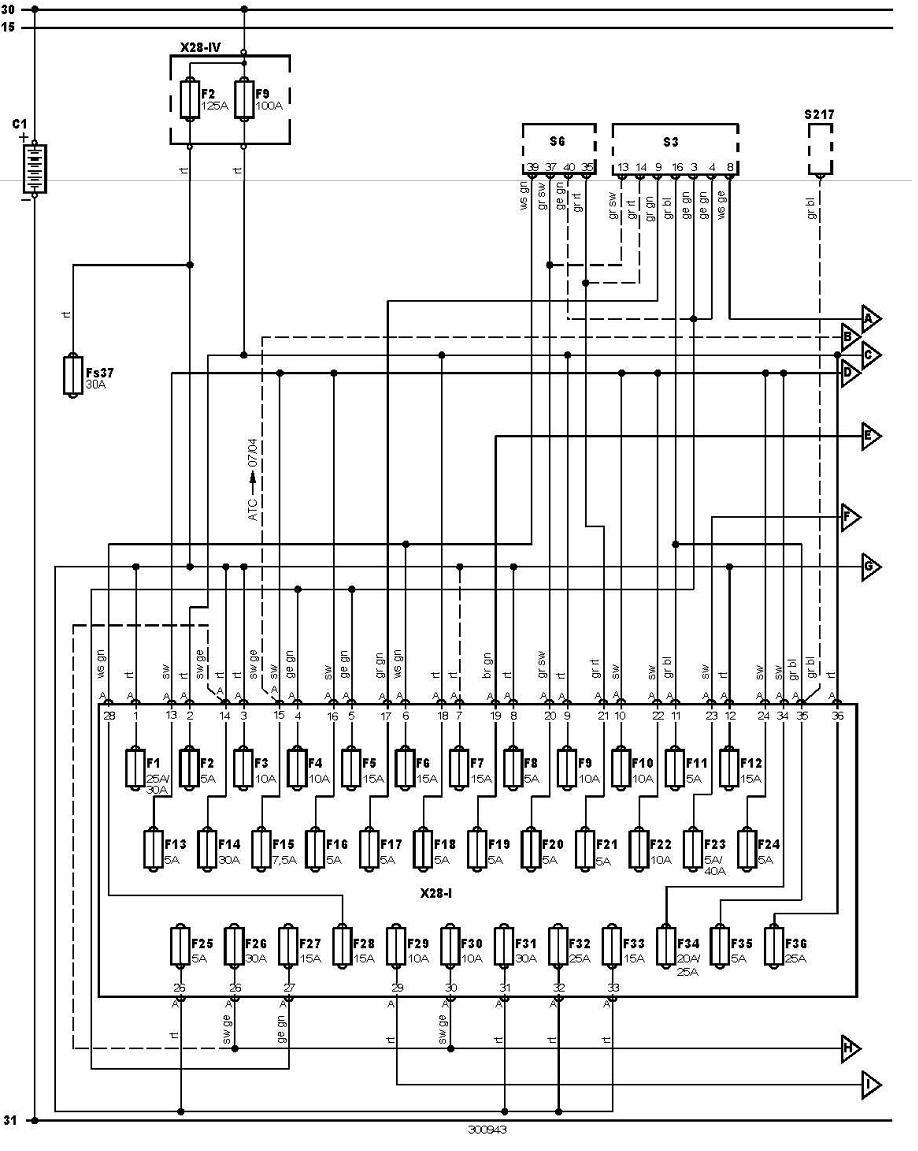 vw transporter t4 fuse box diagram