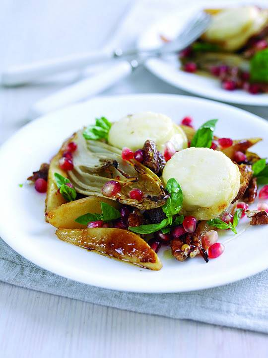 Grilled Pear, Endive And Crottin de Chavignol Toasts With Caramelised Walnuts