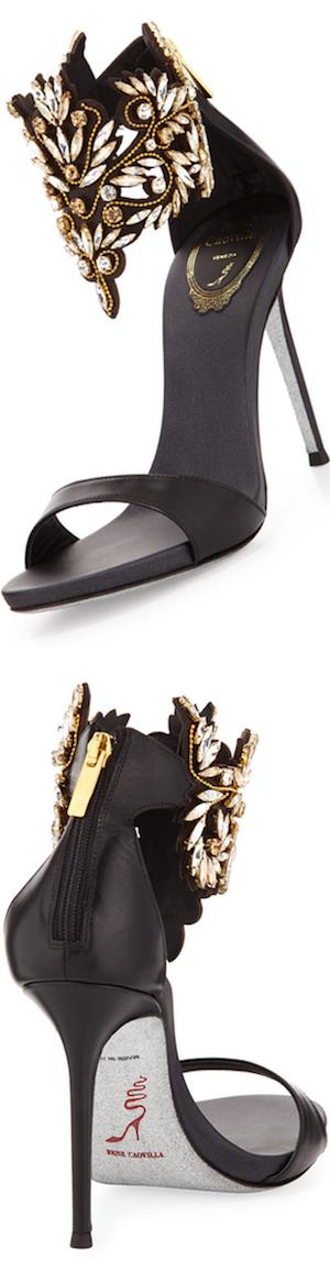 RENE CAOVILLA Embellished Ankle Cuff Sandal