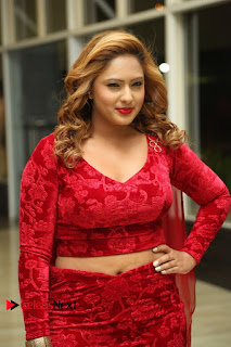 Actress Nikesha Patel Pictures in Red Dress at Araku Road Lo Audio Launch  0033.JPG