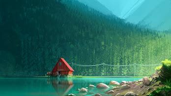Lake, Cabin, Forest, Digital Art, 4K, #21