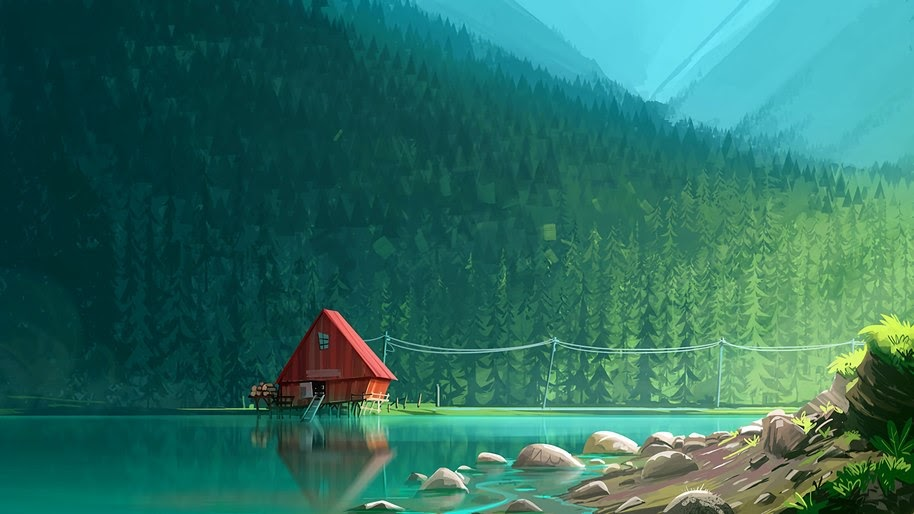 Lake, Cabin, Forest, Digital Art, 4K, #21