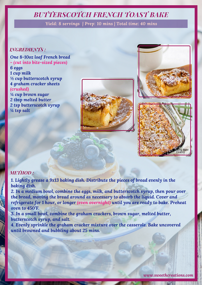 BUTTERSCOTCH FRENCH TOAST BAKE RECIPE