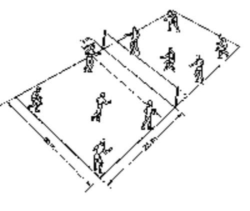 cancha de voleibol con sus medidas y posiciones de jugadores