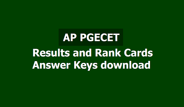 AP PGECET 2019 Results, Rank Cards, Answer keys download
