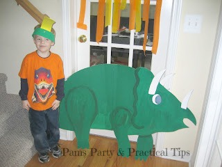 Cardboard Triceratops for Dinosaur Party