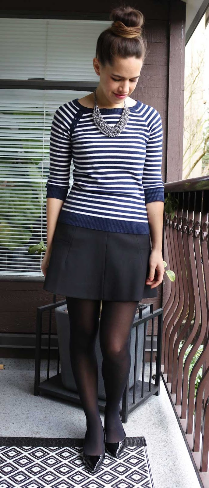 Jules in Flats - Striped Sweater, J.Crew Skater Skirt