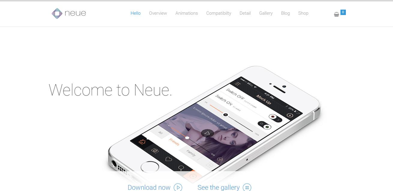 Neue App landing page theme download