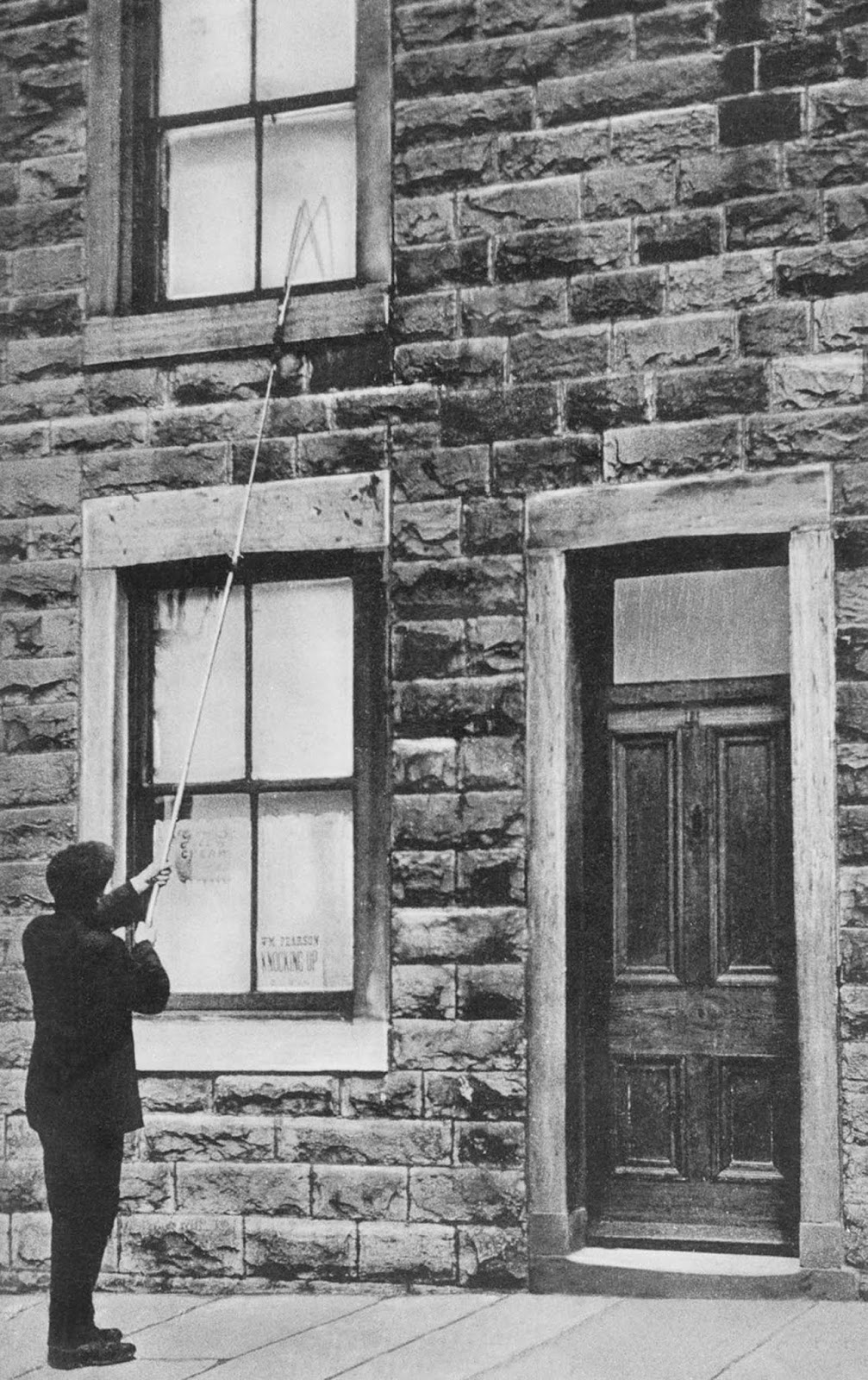While the standard implement was a long fishing rod-like stick, other methods were employed, such as soft hammers, rattles and even pea shooters. c. 1915.