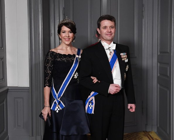 Crown Princess Mary, Princess Marie, Princess Benedikte wore diamond tiara wore gown, long satin dress, satin clutch