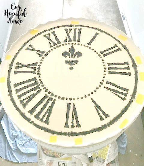 painted French clock stencil