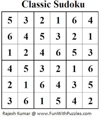 Classic Sudoku (Mini Sudoku Series #43) Solution