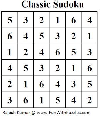 Classic Sudoku (Mini Sudoku Series #43) Solution