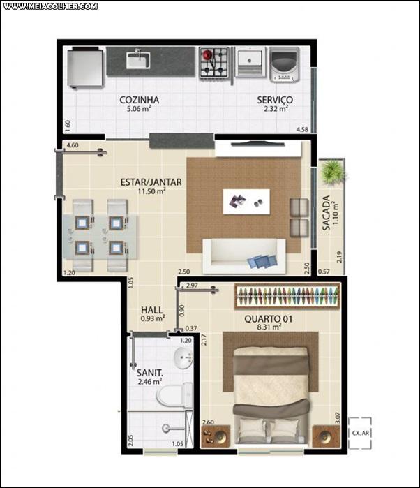 Casa de 1 quarto e 1 banheiro 2
