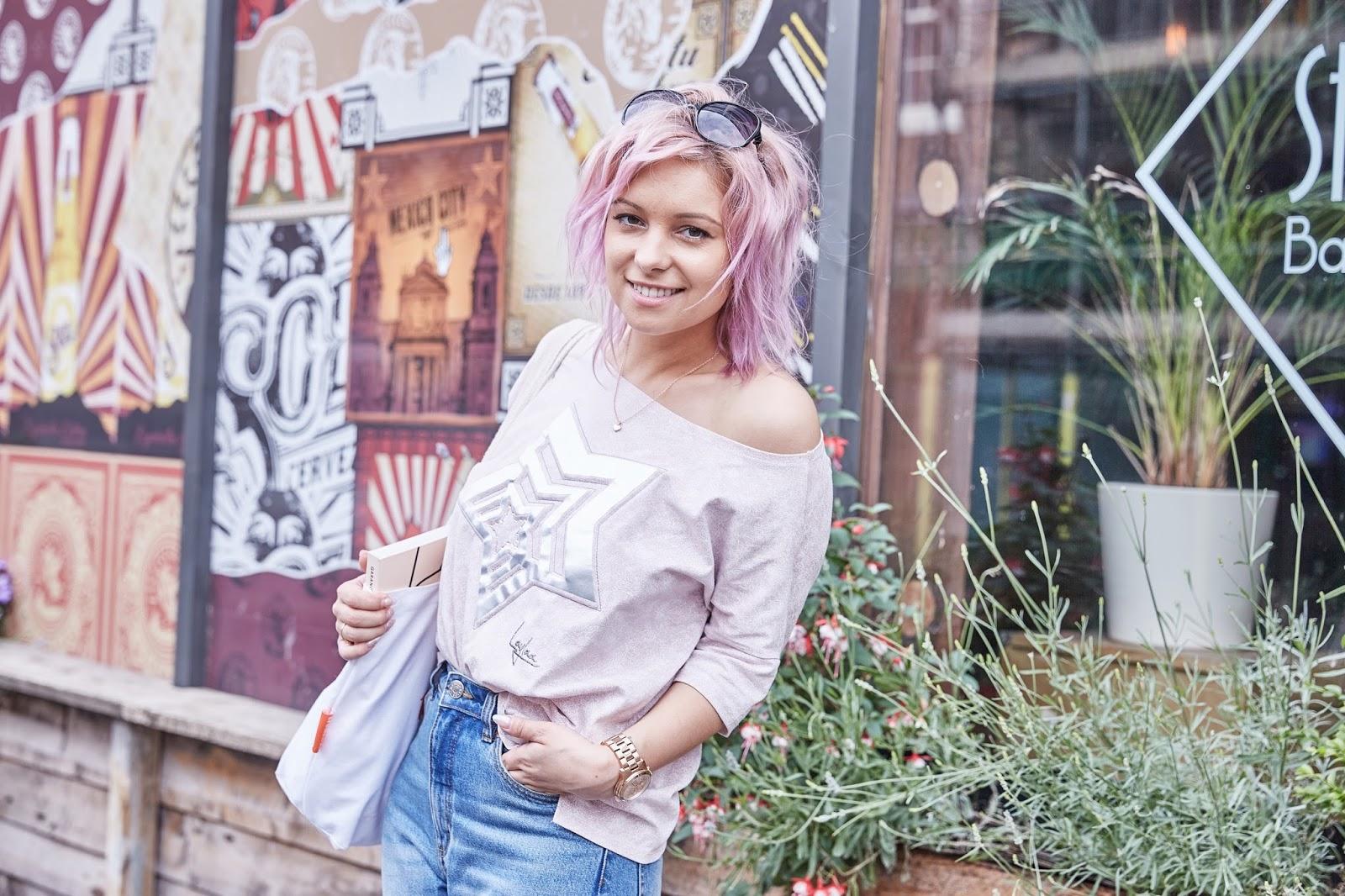 pink hair outfit kurt geiger