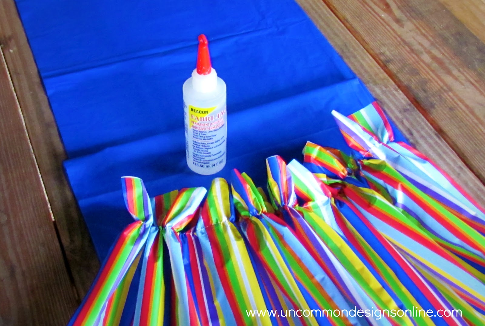 Ruffled Table Runner from Plastic Tablecloths