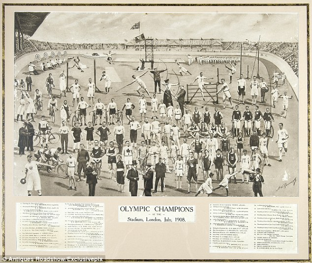 Poster listing 1908 Olympic winners and a photo collage of participants. Your Russians are missing and other stories about past Olympics. marchmatron.com