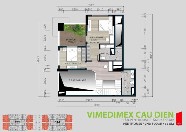 Thiết kế căn hộ Penhouse tầng 2 - 55m2
