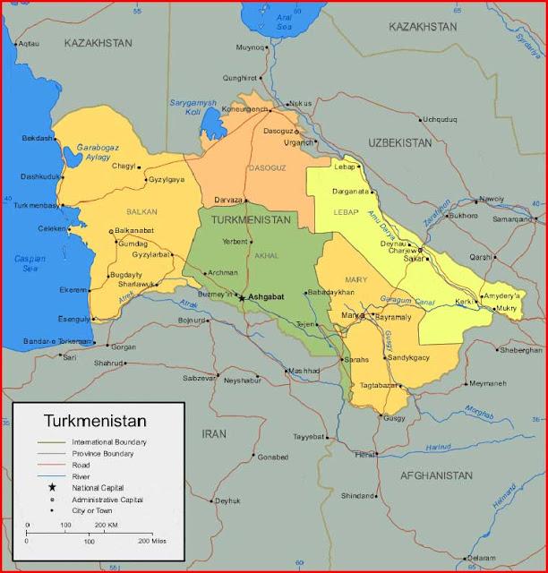 Gambar Peta Turkmenistan