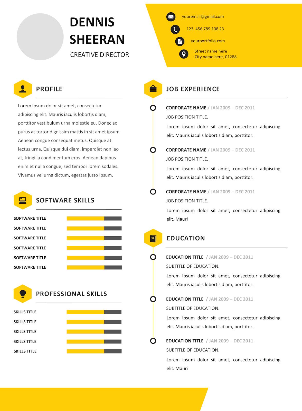 Contoh Resume Moden Menarik Dan Senang Untuk Edit Resume Free