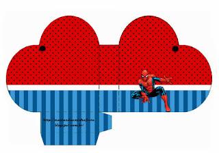 Caja abierta en forma de corazón de Spiderman.