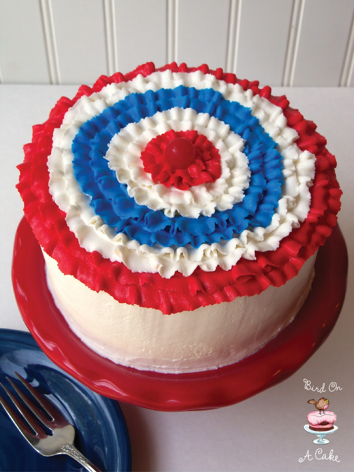 Bird On A Cake Patriotic Ruffled Bunting Cake