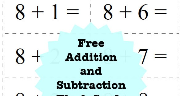 Craftiments Free Printable Addition and Subtraction Flash Cards