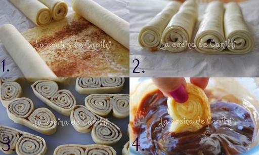 Mini palmeritas con/sin chocolate a la canela (La cocina de Camilni)