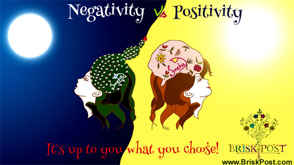 Abstract illustrative image on negative vs positive titled 'Meaning of Positive Attitude: 3 Simple Rules of Positivity'