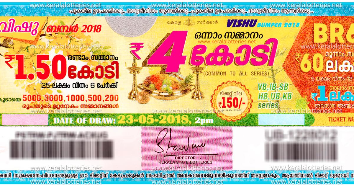 Kerala Lottery Results: 23-05-2018 VIshu Bumper BR-61
