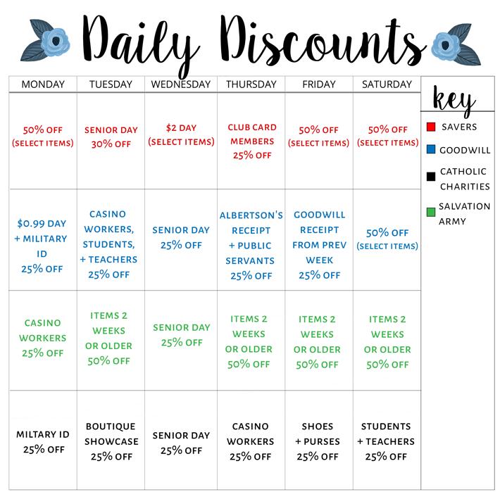 Las Vegas thrift store discount calendar