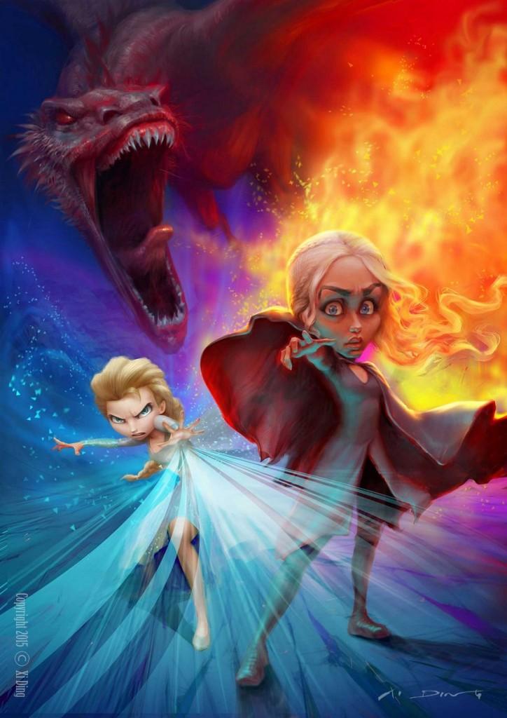 """""""Elsa - Frozen y Daenerys - Game of Thrones"""" por Xi Ding"""