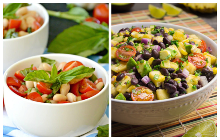 Photo of White Bean Cherry Tomato Salad and Pineapple Fiesta Salad
