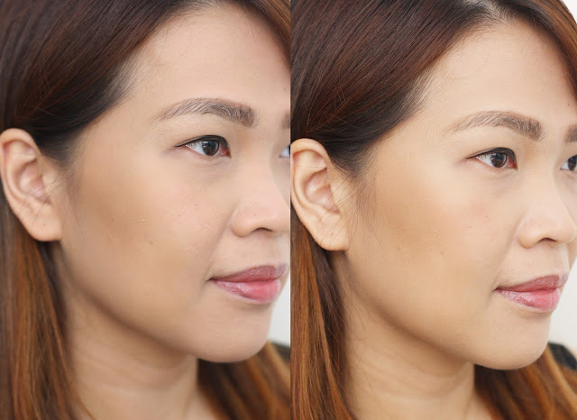 before and after photo of Max FactorX Creme Puff Blush in Alluring Rose