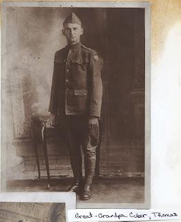 Full length portrait of Thomas Patrick Cuber in WWI uniform.