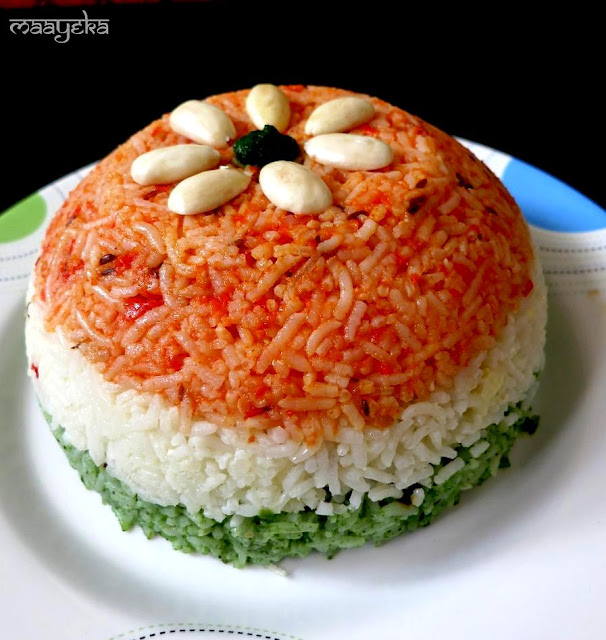 Tricolor pulav - 50+ Ideas for India Independence Day Party, August 15th - craft, Books, recipes & national symbol craft - Tiger, lotus, mango, banyan tree, peacock crafts