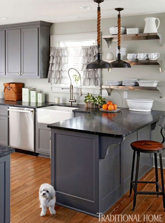 Kitchen cabinets painted with Benjamin Moore Kendall Charcoal. I love the open shelving too!