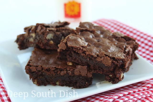 Our favorite family recipe for years, this homemade brownie recipe produces a chewy, fudgy brownie with a crusty top - just as a brownie should be. Just be sure to do everything in order & make no substitutions!