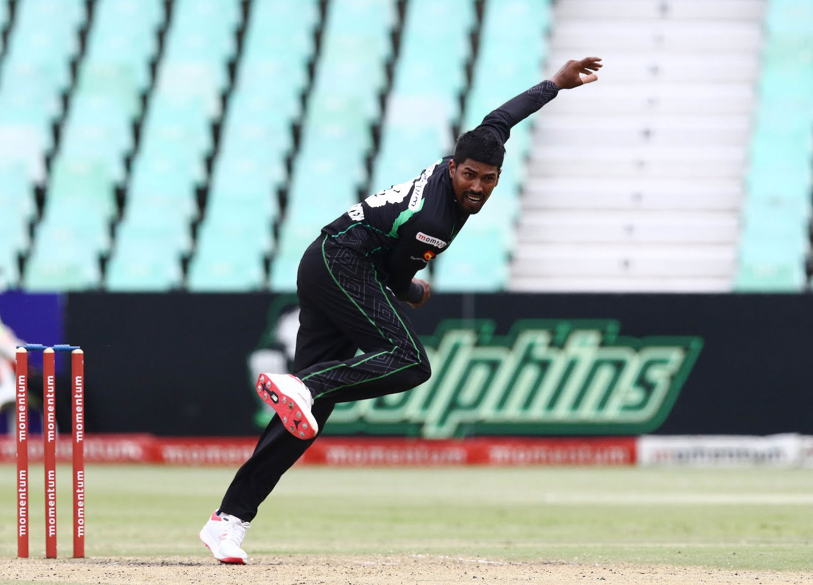Prenelan Subrayen bowling for the Hollywoodbets Dolphins