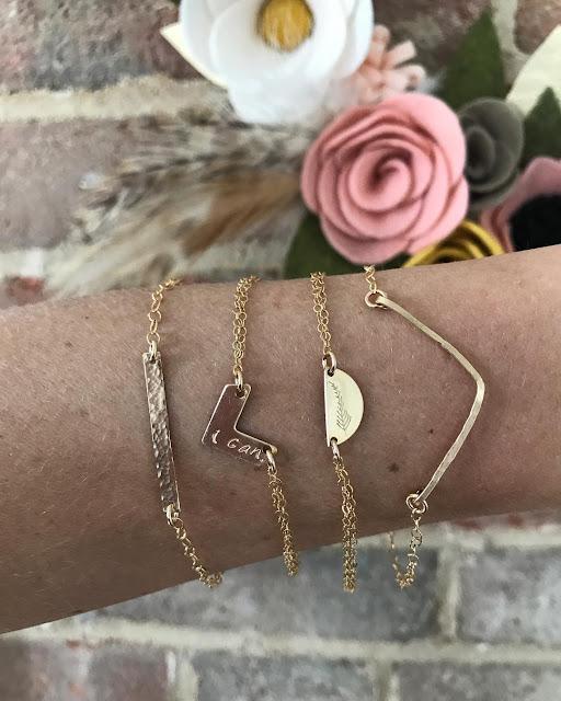 Minimalistic metal stamped jewelry by Meghann Elyse on Etsy - bracelets