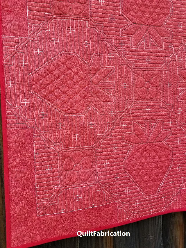 Strawberry Splendor quilt backside closeup