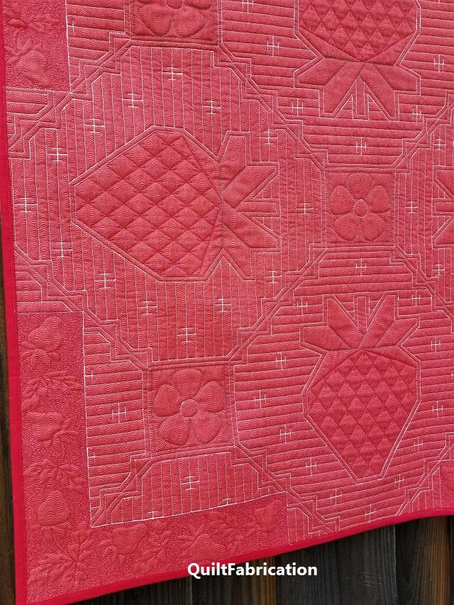 Strawberry Splendor quilt backside closeup