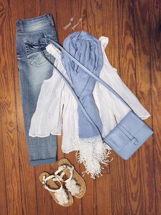 periwinkle scarf and white cold shoulder top outfit of the day
