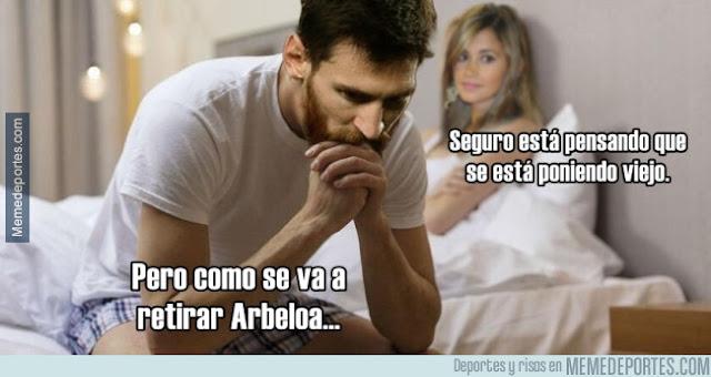 Messi preocupado por que se retira Arbeloa