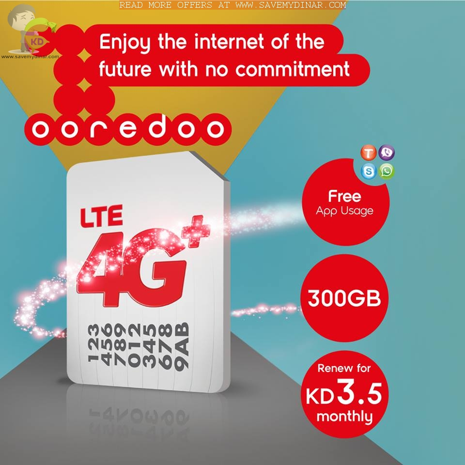 Ooredoo Kuwait - 300GB for KD 3 5 Monthly   SaveMyDinar