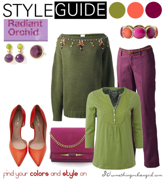 cosy and warm outfit idea with Radiant Orchid for Warm Autumn